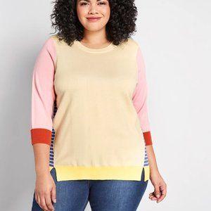 Modcloth Colorblock Striped Mock Neck Sweater 1X